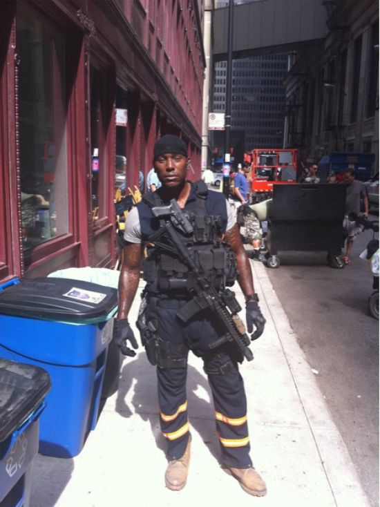 Tyrese Gibson on the set of Transformers 3