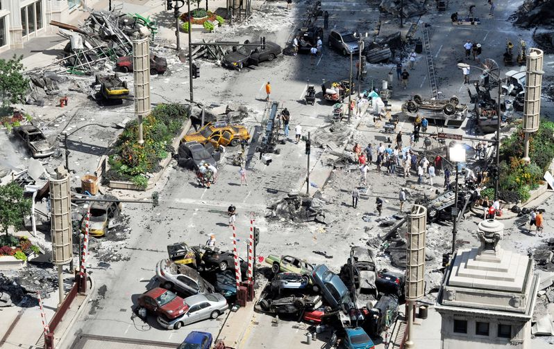 Chicago's downtown destruction in Transformers 3