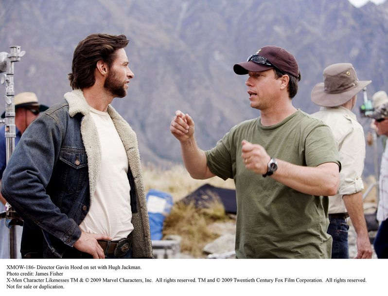 Director Gavin Hood on set with Hugh Jackman