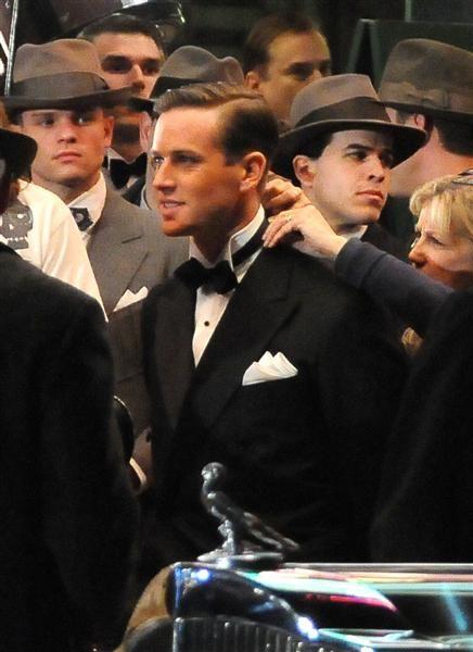 Armie Hammer on the set of <strong><em>J. Edgar</em></strong>