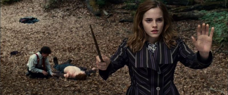 Hermione casts a protective charm to keep Harry, Ron and herself out of sight