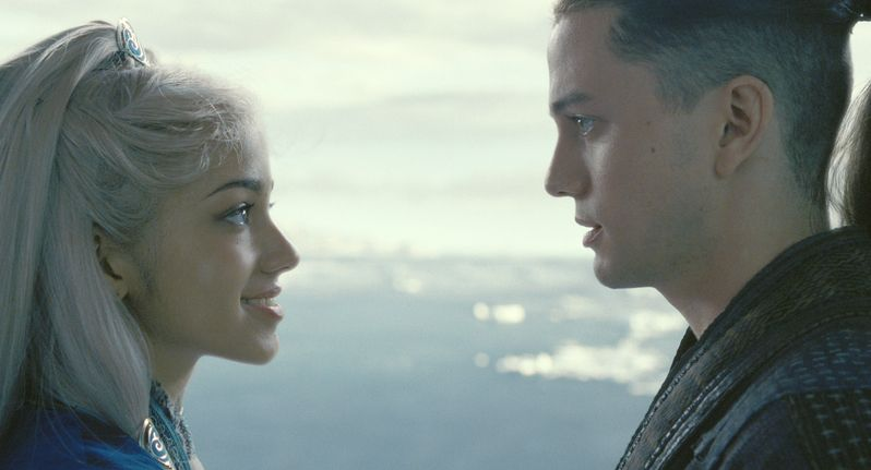 Seychelle Gabrial and Jackson Rathbone in <strong><em>The Last Airbender</em></strong>