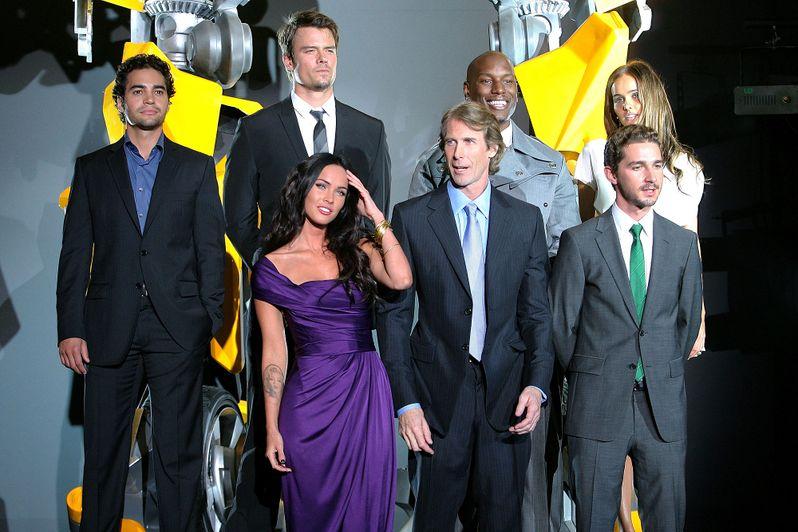 Actress Megan Fox, director Michael Bay and actor Shia LaBeouf an actor Ramon Rodriguez, actor Josh Duhamel, actor Tyrese Gibson and actress Isabel Lucas
