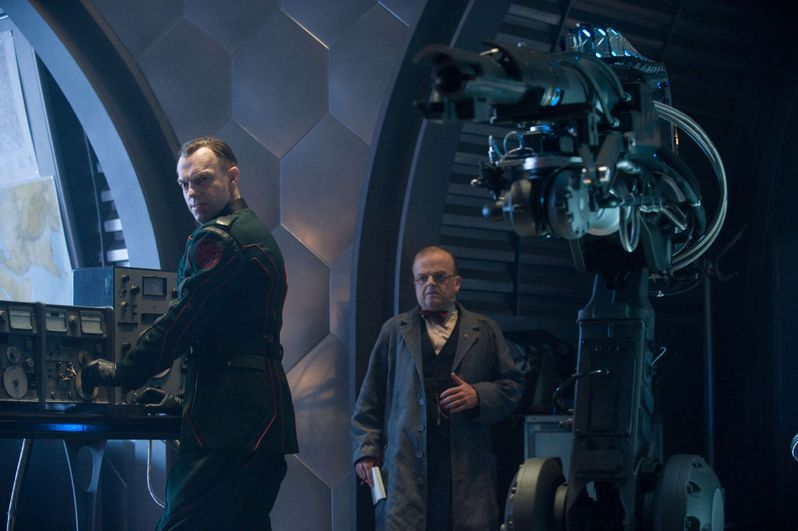 Hugo Weaving and Toby Jones in <strong><em>Captain America: The First Avenger</em></strong>