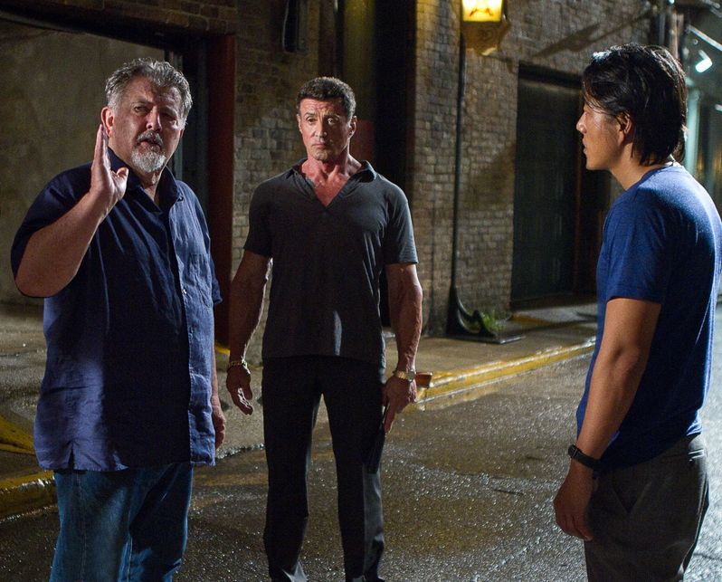 Walter Hill directs Sylvester Stallone and Sung Kang in <strong><em>Bullet to the Head</em></strong>