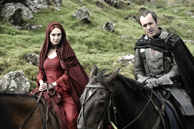Carice van Houten as Melisandre and Stephen Dillane as Stannis Baratheon in <strong><em>Game of Thrones</em></strong>
