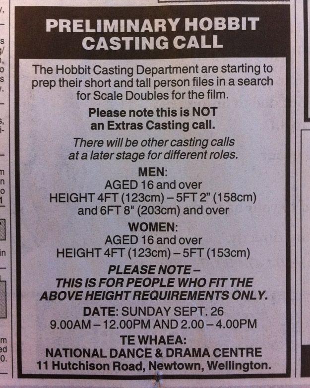 The Hobbit Casting Call
