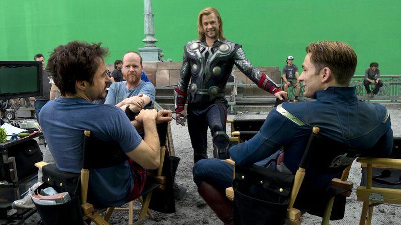 Downey Jr., director Joss Whedon, Chris Hemsworth (Thor), and Evans