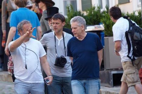 Director David Cronenberg on the set of <strong><em>A Dangerous Method</em></strong>