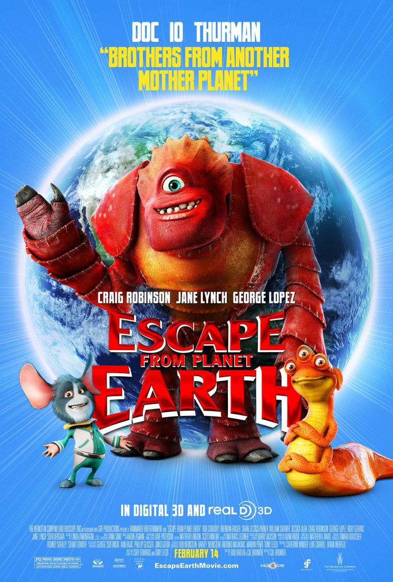 Escape From Planet Earth Doc, Io, and Thurman Character Poster