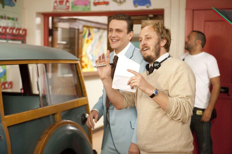 Jason Segel and James Bobin on the set of <strong><em>The Muppets</em></strong>