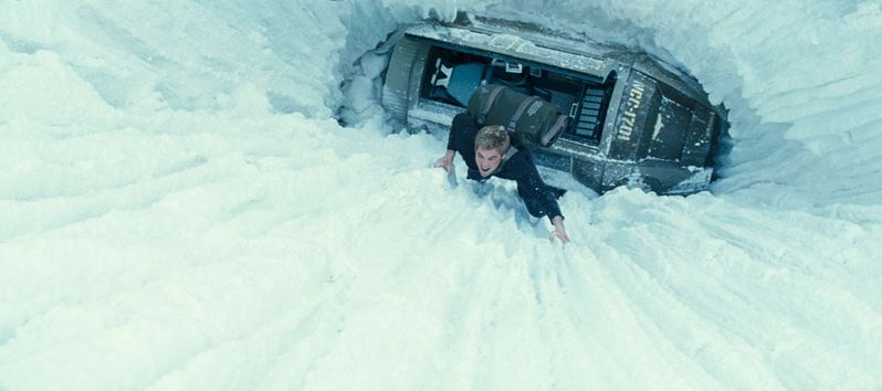 Kirk escaping a crashed escape pod