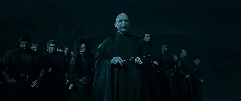 Voldemort and his pack of evil Death Eaters