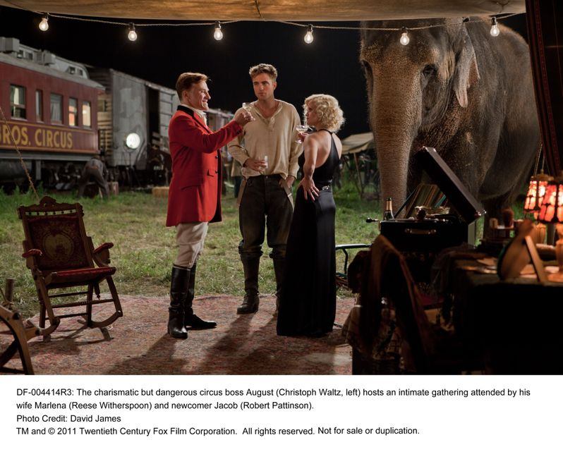 Christoph Waltz, Robert Pattinson and Reese Witherspoon in <strong><em>Water for Elephants</em></strong>