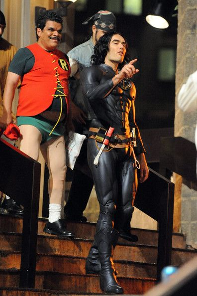 Russell Brand and Luis Guzman as Batman and Robin in <strong><em>Arthur</em></strong>