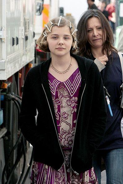 Chloe Moretz on the set of <strong><em>Hugo</em></strong> Cabret