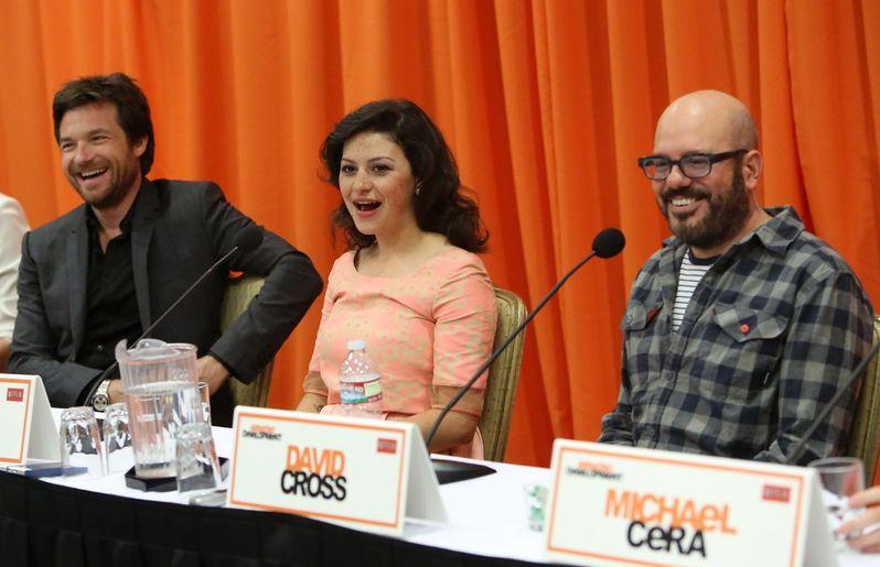 Jason Bateman, Alia Shawkat, and David Cross react to a question at the <strong><em>Arrested Development</em></strong> Season 4 press conference