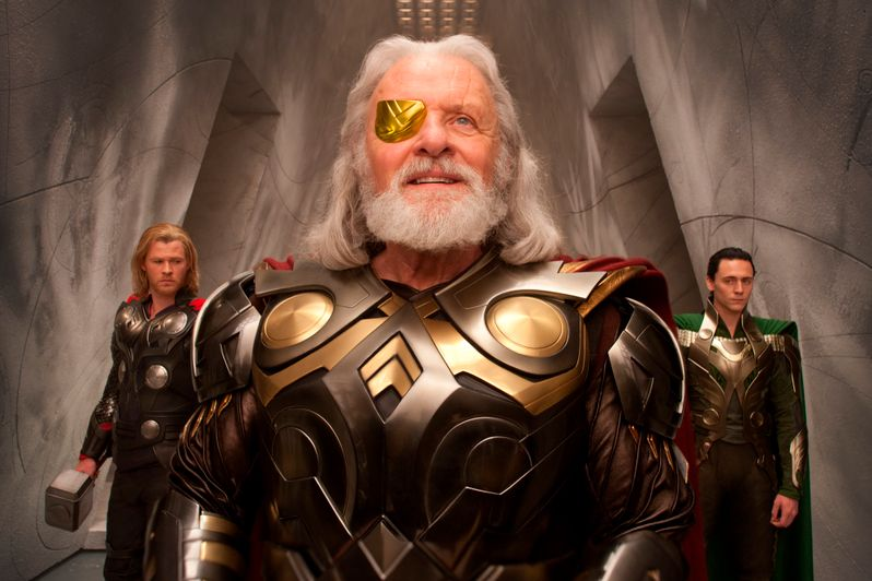 Chris Hemsworth as <strong><em>Thor</em></strong>, Anthony Hopkins as Odin and Tom Hiddleston as Loki