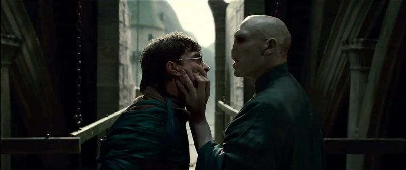 Harry Potter (Daniel Radcliffe) and Lord Voldemort (Ralph Fiennes)