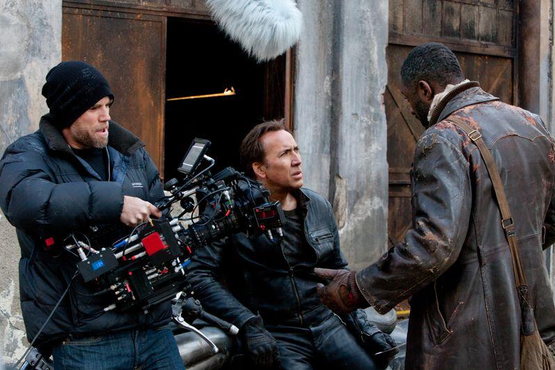 Brian Taylor, Nicolas Cage and Idris Elba on Set